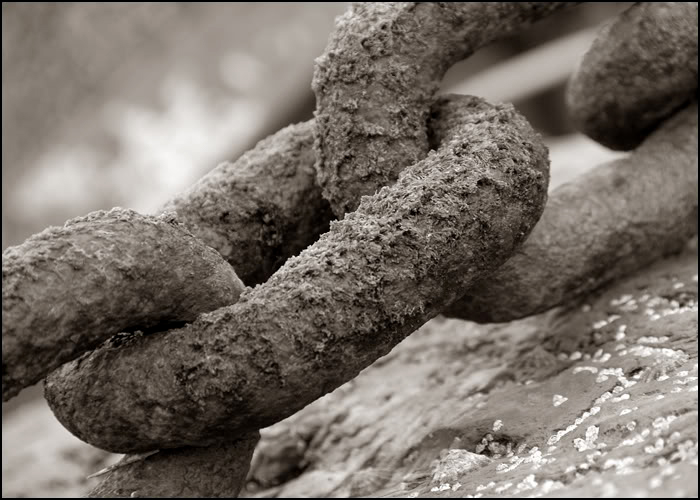 Rusted Chain in B&W